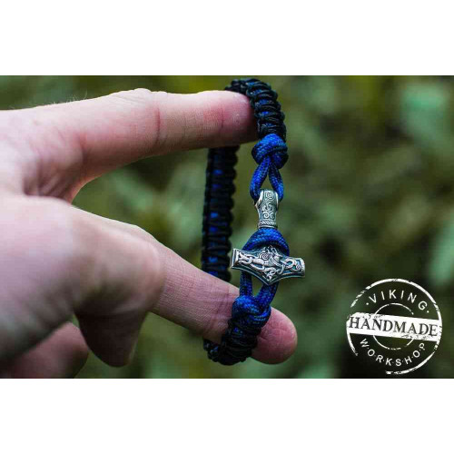 Paracord Bracelet with Sterling Silver Mjolnir (Black+Blue)